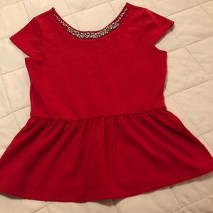 Red Peplum Top with jewels